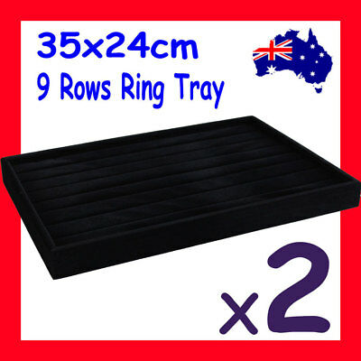 PREMIUM QUALITY 2X Ring Display Tray-9 Slots-FULL Black Velvet | AUSSIE Seller