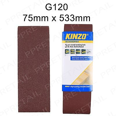 "3x High Quality SANDING BELTS 75mm x 533mm +FINE+ 120G Grit Band Sander 3"" Wide"