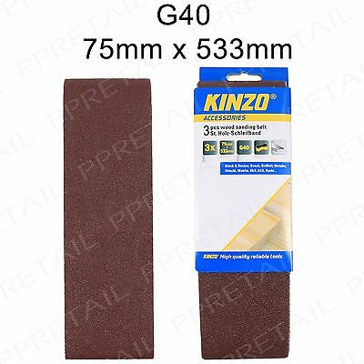 3 x High Quality SANDING BELTS 75mm x 533mm +EXTRA COARSE+ 40G Grit Band Sander