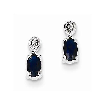 New Solid 925 Sterling Silver Oval Blue Genuine Sapphire Diamond Post Earrings