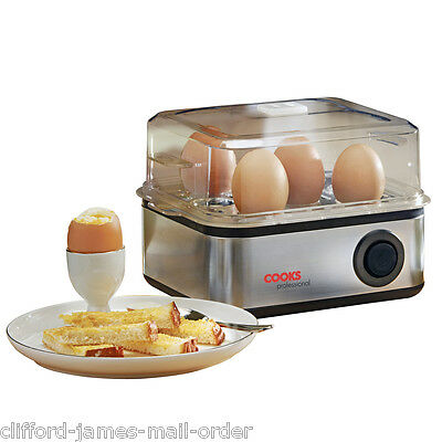 Compact Egg Boiler | Cooks Professional 500W 8 Egg Cooker Steamer and Poacher