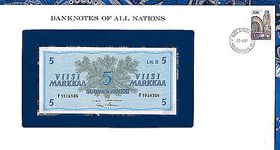Banknotes of All Nations Finland 5 Markkaa 1963 UNC P106Aa.37 Litt. B