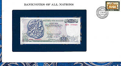 Banknotes of All Nations Greece 50 Drachmai 1978 P199 UNC Prefix 02Θ