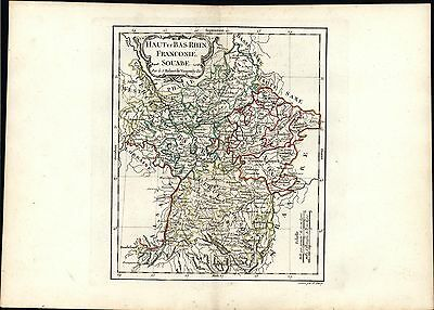 Upper & Lower Rhine Franconia Swabia 1788 antique Vaugondy hand color map