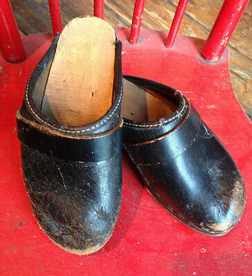 Vintage children's toddlers doll authentic black clogs Scandinavian used 1950's