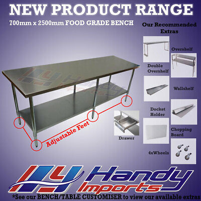 2500 x 700mm STAINLESS STEEL #304 COMMERCIAL FOOD PREP WORK BENCH