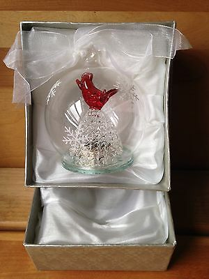 Red Cardinal Clear Glass Christmas Ornament Changing Lights Blue, Purple, Green