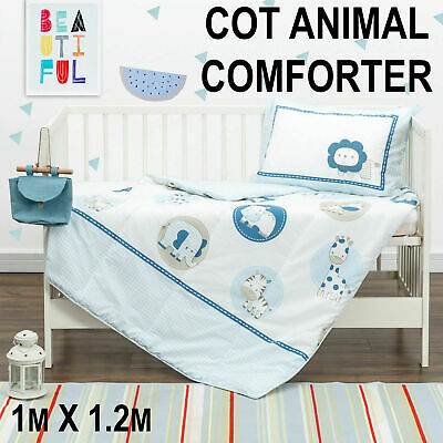 Baby Kids Crib Cot Comforter Quilt Pillowcase Set Poly/cotton Animal Printed