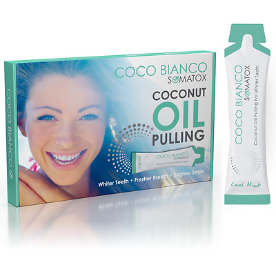 COCO BIANCO - Coconut Oil Pulling | Teeth Whitening - 14 Day Mint Pack - Somatox