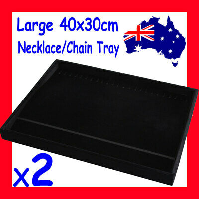 2X LARGE Necklace Chain Display Tray-40x30cm-FULL Black Velvet | AUSSIE Seller