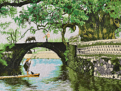 "18"" Brocaded Chinese Landscape Silk Embroidery Painting: Bridge Of Village"