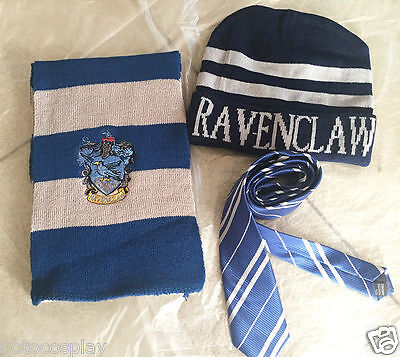 3pcs Harry Potter Ravenclaw House Wool Scarf Costume+Tie+Hat/Cap Set Cosplay