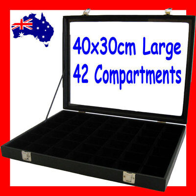 RELIABLE Glass Lid Jewellery Case-42 Compartments-40x30cm | AUSSIE Seller