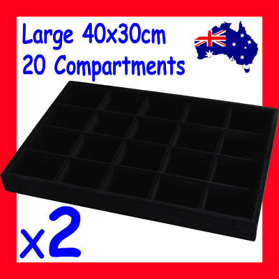 2X Premium FULL Velvet Jewellery Tray-20 Compartments-40x30cm | AUSSIE Seller