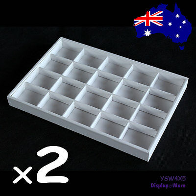 2X Premium FULL White Leatherette Jewellery Tray-20 Compartments | AUSSIE Seller