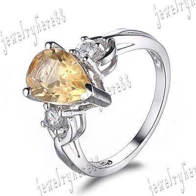 Antique Jewelry 14K White Gold Filled Citrine Multi Stone Gem Wedding Ring Sets