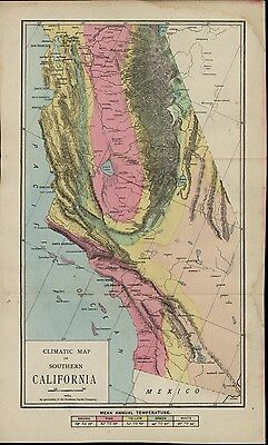 Southern California Climatic Map Annual Temperature 1888 old So. Pacific RR map
