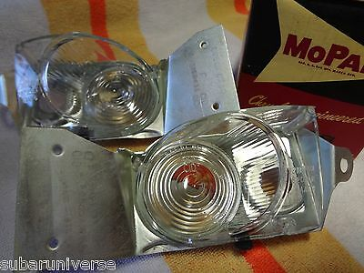 NOS 1962 Plymouth Wagon Back Up License Lens & Housings - PAIR! 2189432 2189433