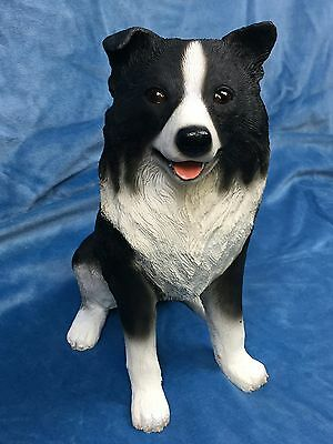 Border Collie Dog Figurine Cold Cast Stone Resin