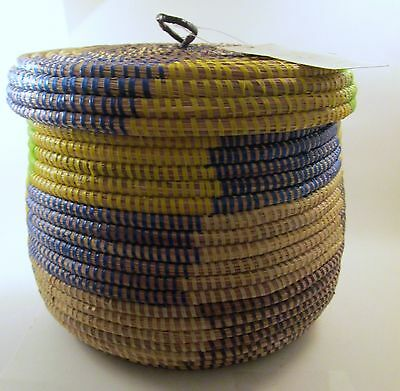 Senegal Prayer Baskets Multi-Colored Hand Coiled African Covered Basket