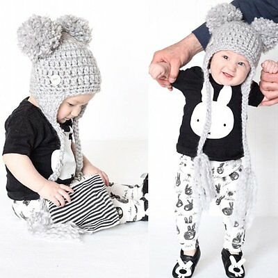 Newborn Toddler Baby Boy Girl Rabbit Clothes Outfits T-shirt Tops+Pants 2PCS Set
