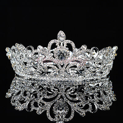 Crystal Rhinestone King Crown Tiara Wedding Pageant Bridal Diamante Headpiece