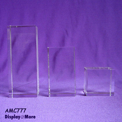 RARE Set of 3 Clear Solid Crystal Jewellery Display Blocks | AUSSIE Seller