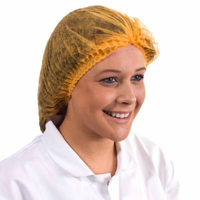 MOB MOP CAPS: Disposable Mob Cap Large size Orange Bargain Price from 1.2p Each