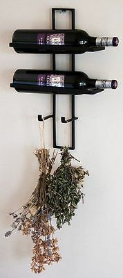 "Wrought Iron Wine rack ""Duo"" WALL DISPLAY BOTTLE HOLDER"