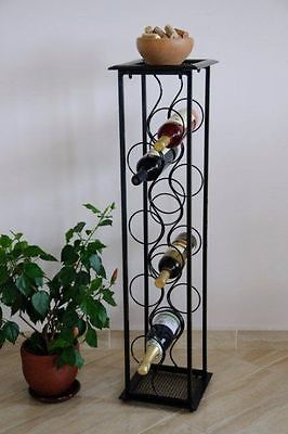 "Wrought Iron Wine rack ""Octet"" FLOOR STAND DISPLAY BOTTLE HOLDER"