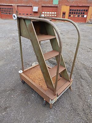 Vintage Industrial Rolling Steps Old Factory Warehouse Steampunk Shop 5272-15