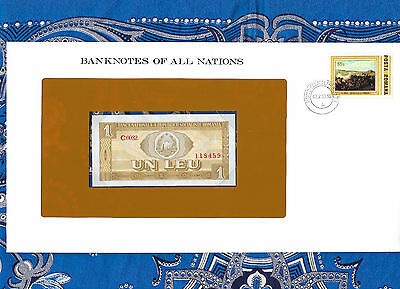 Banknotes of All Nations Romania 1 Leu 1966 UNC P91 Serie C.0032
