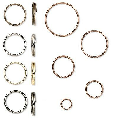 20 Plated Steel Round Split Rings Small-Big Double Loop Keyring Jewelry Findings