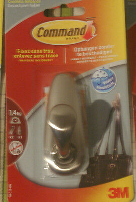 3M Command Classic Brushed Nickel Medium Metal Hook with strips