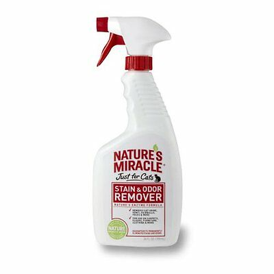 Natures Miracle Stain & Odor Remover Spray 24z Removes Cat Urine Hairballs Fees