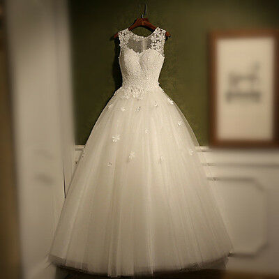 New White/Ivory Tulle Princess Lace Wedding Dress Bridal Prom Gown Custom 6-18+
