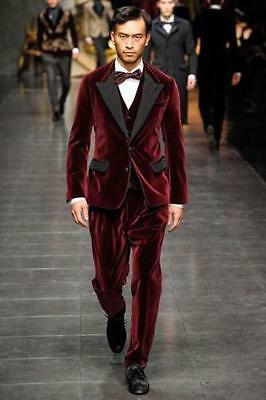Groom Tuxedos Mens Fashion Wedding Suits Velvet Suits High Quality Business Suit