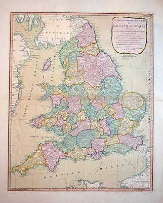 Beautiful antique map of England & Wales by Laurie & Whittle c1804