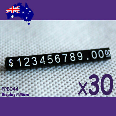 30 Sets Retail Shop Price Tag Cube-Mini-White Numeral on Plain Black | OZ Seller
