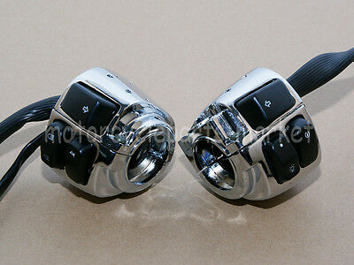 "Chrome Pair Motorcycle 1"" Handlebar Control Switches + Wiring Harness For Harley"