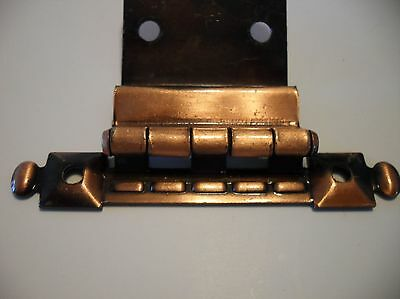 "Vtg NOS Japanned COPPER FLASH Cabinet Door Hinges 3/8"" Inset Barber Pole Design"
