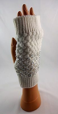 Fingerless gloves acrylic popcorn stitch knit rhinestone accents text smartphone