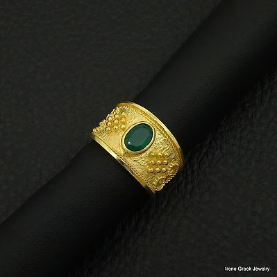 Rare Natural Green Onyx Byzantine 925 Sterling Silver 22K Gold Plated Greek Ring