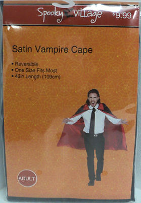 "Spooky Village SATIN Vampire Cape - ADULT 43"" Reversible - OSFM - NEW Halloween"