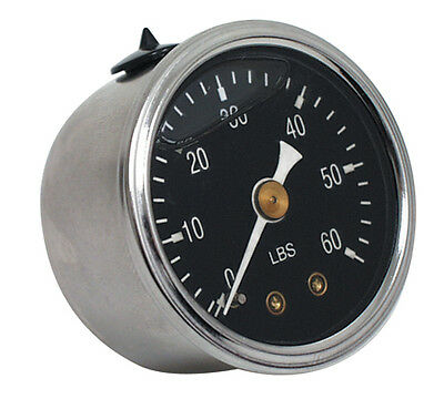 "Oil Pressure Gauge, 60 PSI, S/S Case 1-3/8"" Black Face. Suit Harley Application."