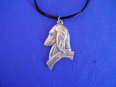 Saluki Deco Head Necklace #15N Hound Pewter dog jewelry by Cindy A. Conter
