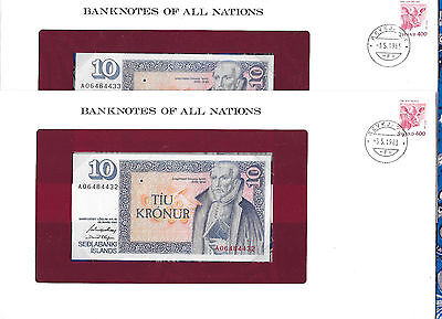 Banknotes of all Nations Iceland 1981 10 Kronur UNC P48a.3 sign 42 2 Consecutive