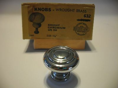 "Vtg NOS 1-1/8"" CHROME CABINET Drawer KNOBS Pulls concentric rings lines bullseye"