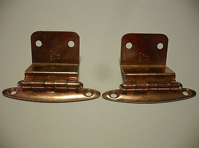 "Vintage NOS COPPER Plated Steel Cabinet Door HINGES 3/4"" Inset One Pair"