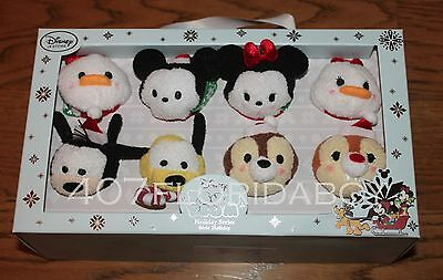 NEW Authentic USA Disney Store Tsum Tsum Christmas Complete set 8 Mickey Minnie